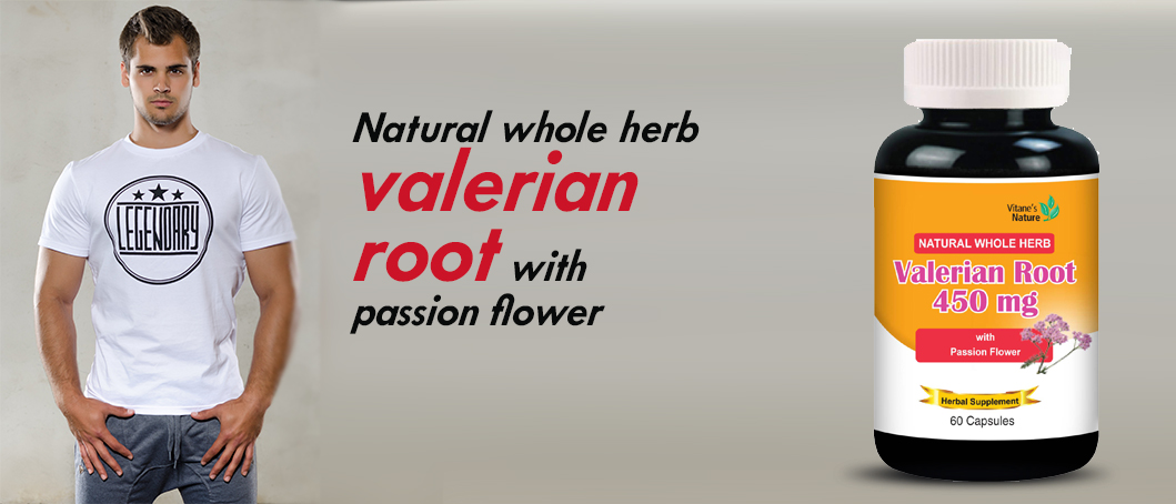 Natural whole herb valerian root with passion flower